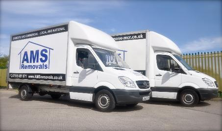 Movers In Manchester Vans with AMS Removals Logo