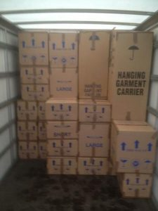 boxes securely loaded in AMS Removals van