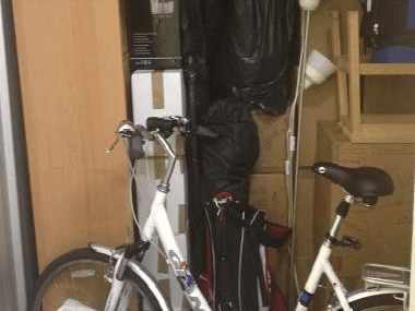 bicycle, lamp, etc. stored securely in housemovers storage
