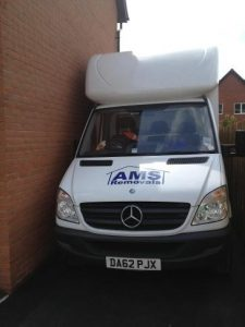 AMS Removals Van parked in a very tight driveway